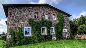 Bilder Deutschland Haus Gras Steinernen Wände Fenster Klein Zastrow Städte