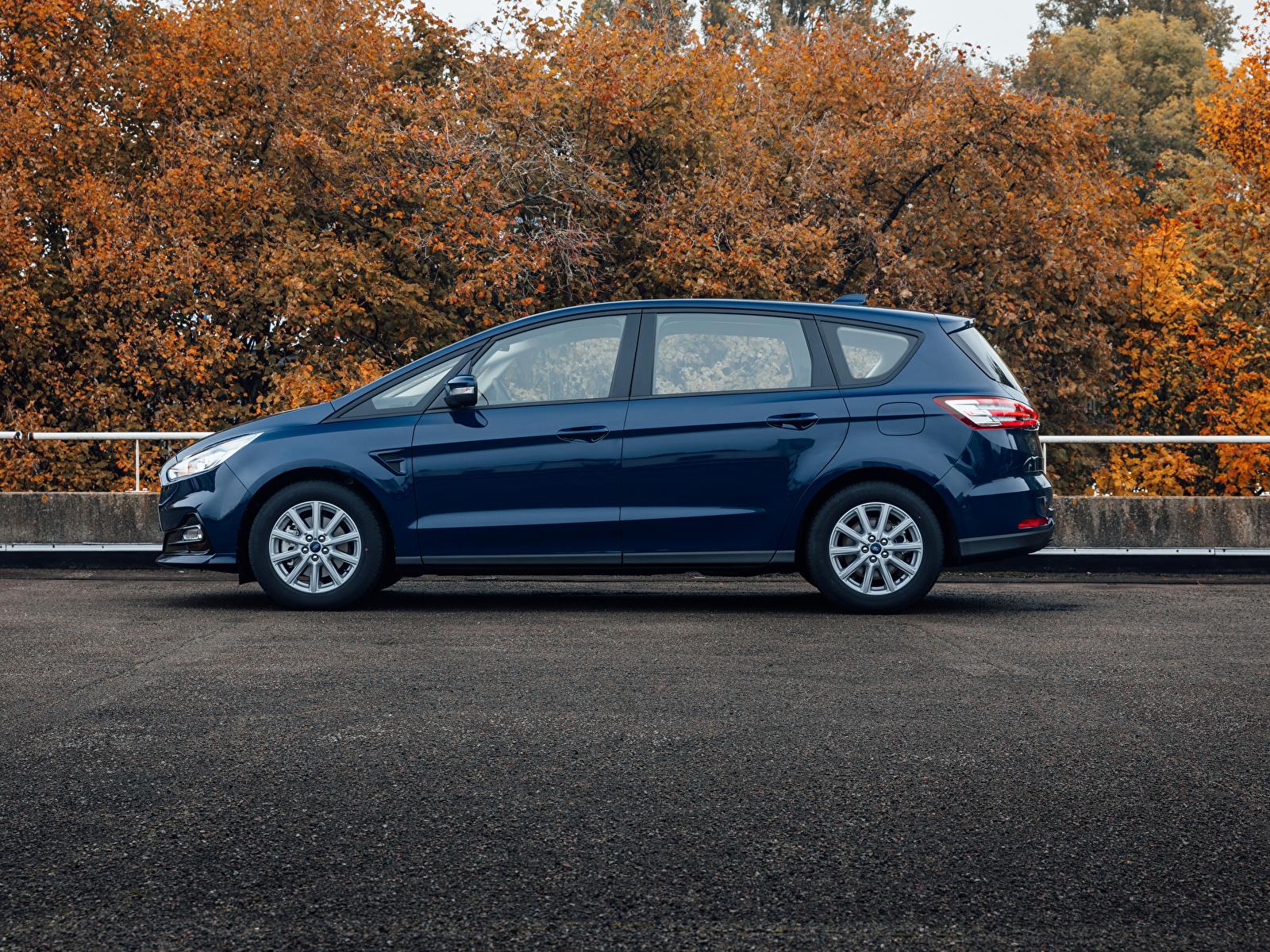 Bilder von Ford Kombi S-MAX, 2019 Blau Autos Seitlich Metallisch 1600x1200 auto automobil