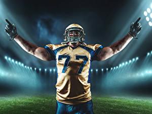 Fotos American Football Mann Helm Uniform Hand Handschuh Sport