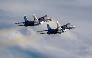 壁纸、、飛行機、戦闘機、Su-30 (航空機)、ロシアの、2 二つ、飛翔、SM、航空