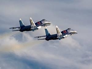 Fotos Flugzeuge Jagdflugzeug Soukhoï Su-30 Russische 2 Flug SM Luftfahrt