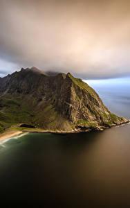 Bilder Norwegen Küste Abend Lofoten Gebirge Kvalvika Beach Natur