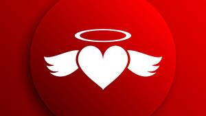 Papéis de parede Dia dos Namorados Desenho vetorial Fundo vermelho Coração Asa