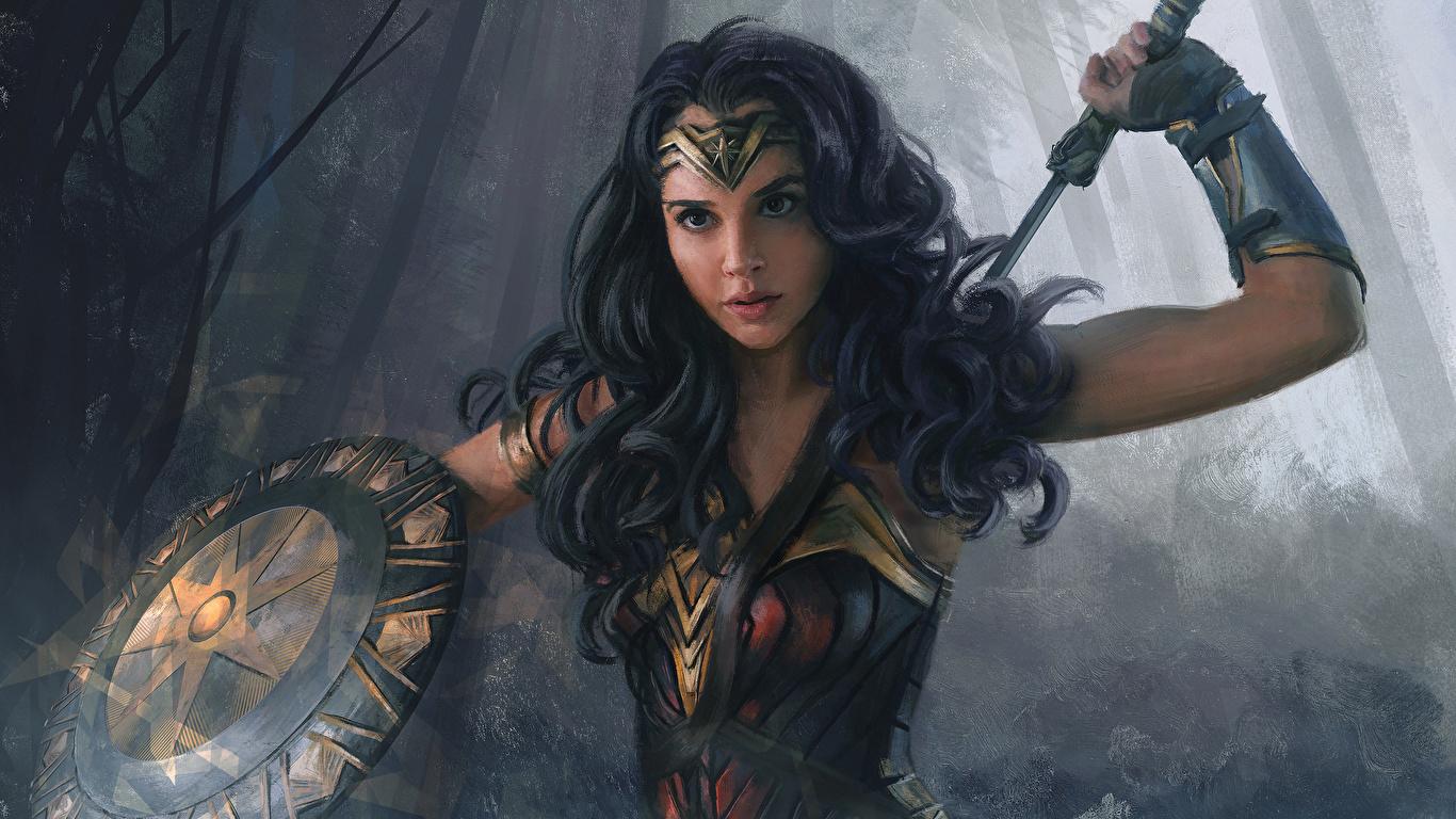Fondos De Pantalla 1366x768 Dibujado Wonder Woman Héroe