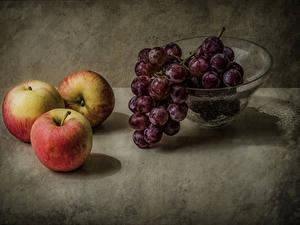 Fotos Äpfel Weintraube Stillleben