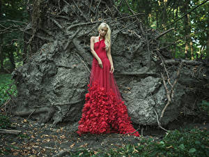 Fonds d'écran Blondeur Fille Les robes Rouge