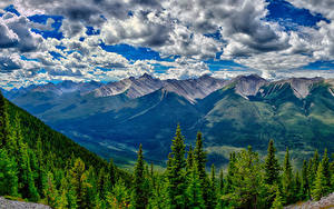 Fotos Kanada Park Gebirge Wälder Landschaftsfotografie Banff Wolke HDR