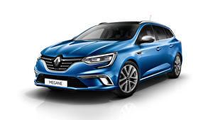 Fotos Renault Weißer hintergrund Blau Metallisch Megane, Estate, GT Line, Worldwide Autos