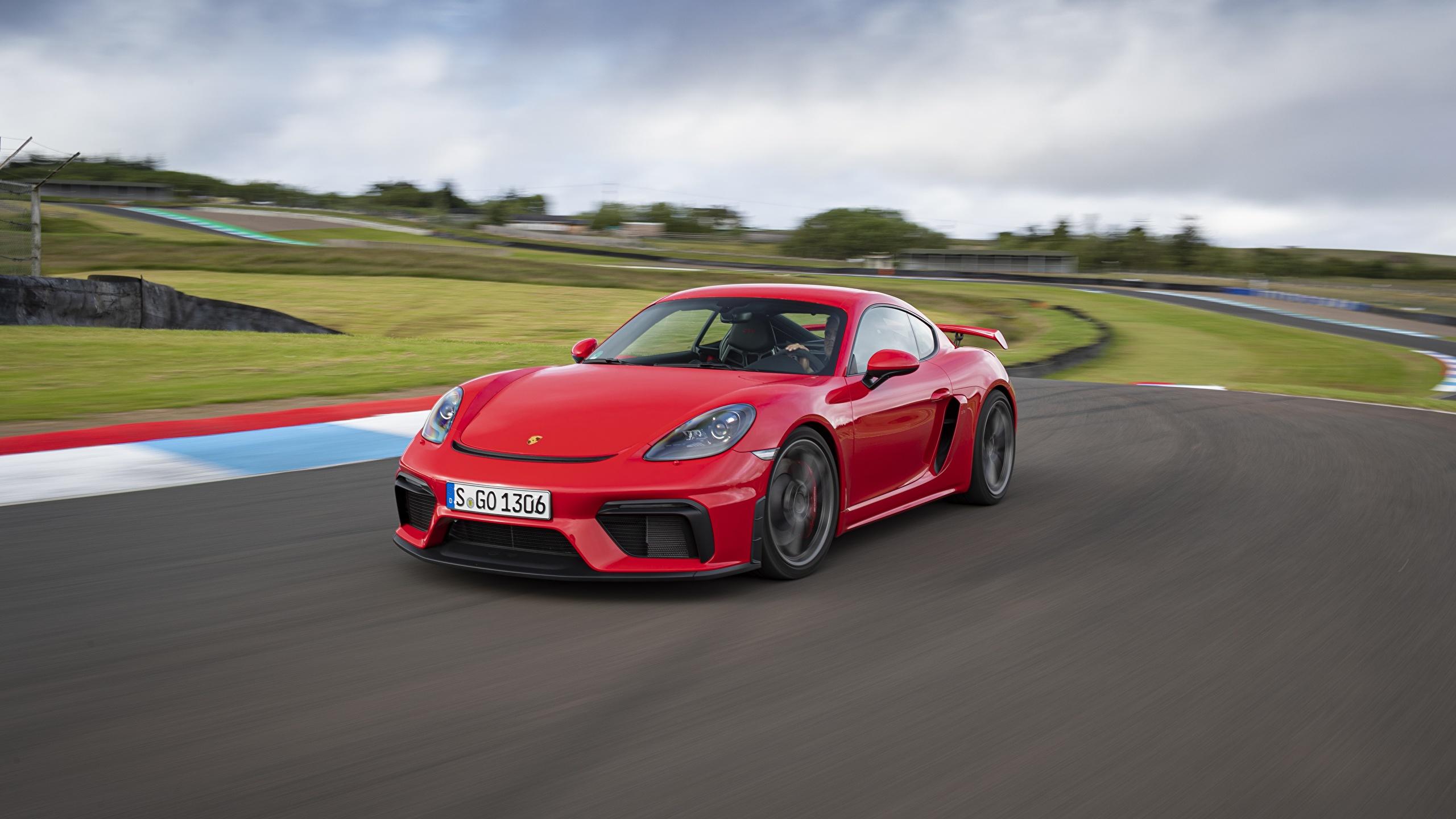 Papeis De Parede 2560x1440 Porsche 718 982 Cayman Gt4 Vermelho Movimento Carros Baixar Imagens