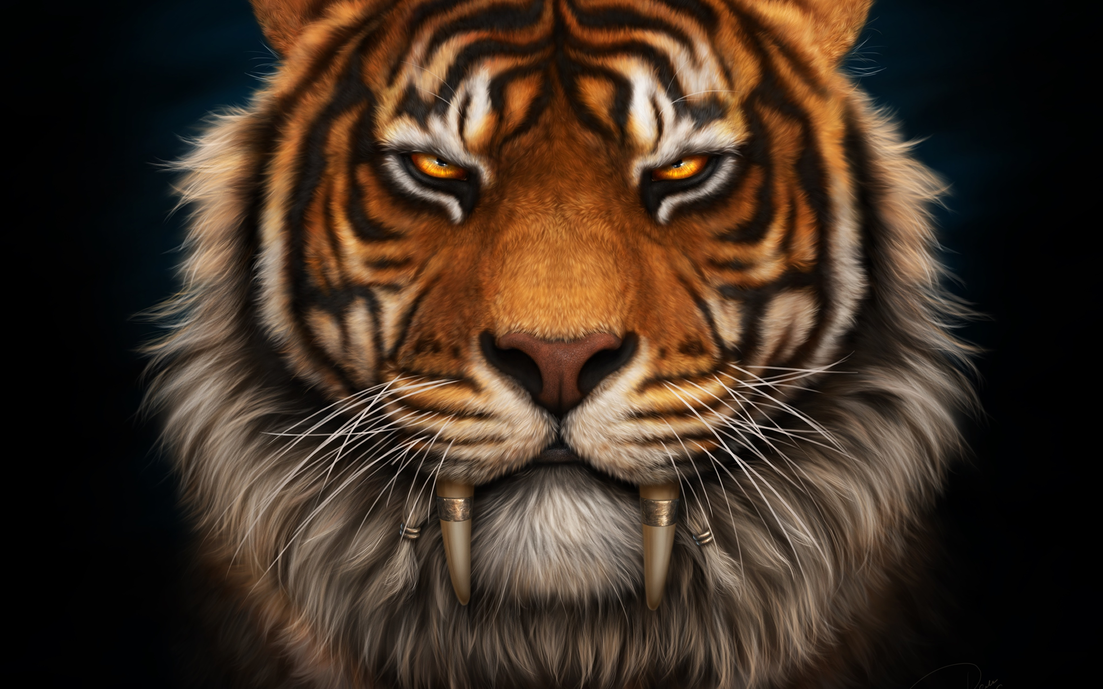 Picture Tigers Canine tooth fangs Saber-toothed Whiskers Snout Glance Animals Black background 3840x2400 tiger animal Staring