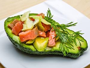 Fotos Avocado Dill Fische - Lebensmittel