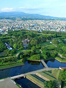 Bilder Japan Gebäude Parks Teich Von oben Hakodate Goryokaku Park-Fort Städte
