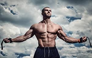 Fotos Mann Bodybuilding Muskeln Bauch Hand Sport