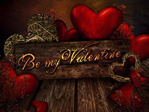 Papéis de parede Dia dos Namorados Tábuas de madeira Ingleses Coração