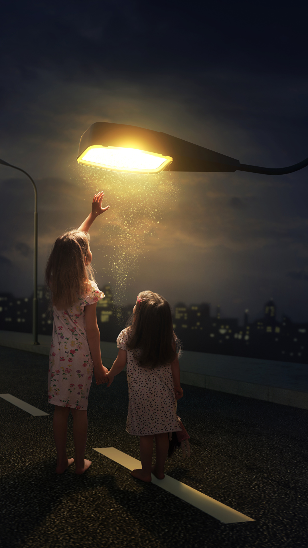 Images Little Girls Children Two Roads Creative Night Time 1080x1920