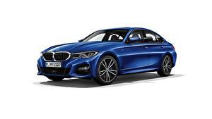 Fotos BMW Weißer hintergrund Blau Metallisch Limousine 330i M Sport G20 2019 Autos