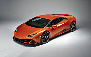 Hintergrundbilder Lamborghini Grauer Hintergrund Orange 2019 Huracan EVO