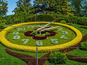 Papel de Parede Desktop Suíça Parques Relógio Design Arbusto Relvado Geneva Naturaleza