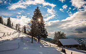Fotos Schweiz Winter Himmel Haus Schnee Fichten Sonne Wolke Bäume Zugerberg