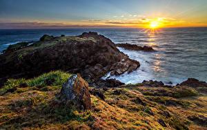 Hintergrundbilder Australien Küste Sonnenaufgänge und Sonnenuntergänge Landschaftsfotografie Meer Steine Sonne Hat Head National Park Natur