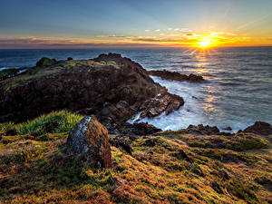 Hintergrundbilder Australien Küste Sonnenaufgänge und Sonnenuntergänge Landschaftsfotografie Meer Steine Sonne Hat Head National Park