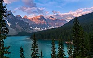 Fotos Kanada Gebirge See Wälder Landschaftsfotografie Moraine Lake Alberta
