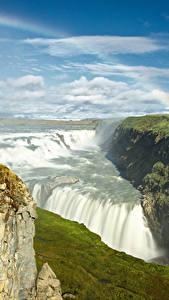 Fotos Island Wasserfall Himmel Landschaftsfotografie Regenbogen Laubmoose Wolke Gullfoss waterfall