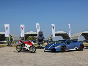 Bilder Lamborghini Ducati Flugzeuge Blau 2016-18 Huracan LP 610-4 Avio Motorrad