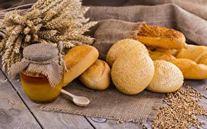 Hintergrundbilder Backware Honig Brötchen Bretter Ähre Weckglas Getreide Lebensmittel