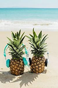 Hintergrundbilder Ananas Kopfhörer Strand 2 Lebensmittel