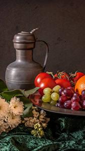 Bilder Stillleben Weintraube Obst Kannen Lebensmittel