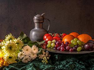 Bilder Stillleben Weintraube Obst Kannen