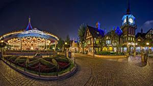 Hintergrundbilder Vereinigte Staaten Disneyland Park Gebäude Kalifornien Anaheim Design HDR Nacht Karussell Städte