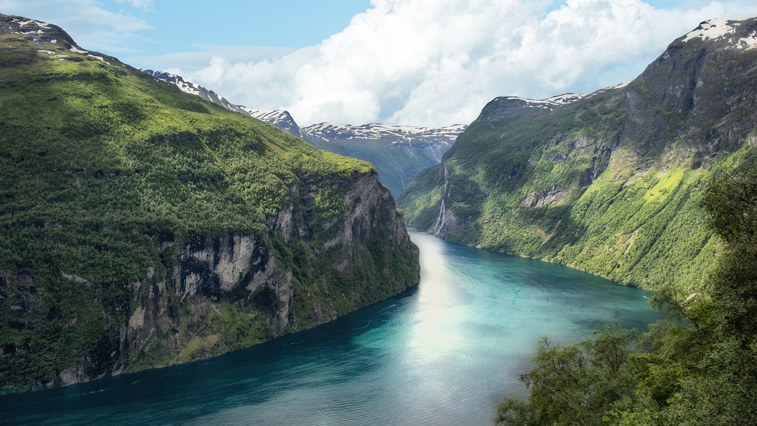Picture Norway Fjord Rock Nature 2560x1440