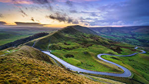Fotos Straße Himmel England Landschaftsfotografie Hügel Wolke Mam Tor, Peak District, Derbyshire