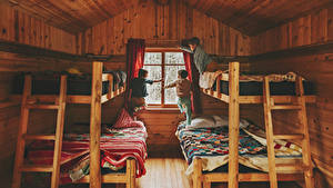 Bilder Innenarchitektur Bett Jungen Drei 3 Hölzern Design Fenster Kinder