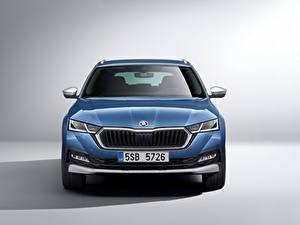 Fotos Skoda Blau Metallisch Vorne Octavia Scout, 2020 Autos