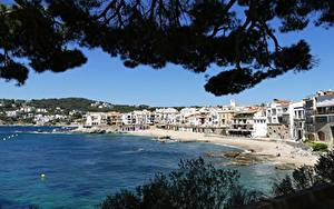 Picture Spain Coast Building Branches Beaches Costa Brava, province of Girona Cities