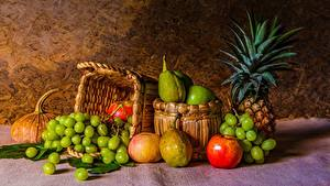 Bilder Stillleben Trauben Obst Weidenkorb