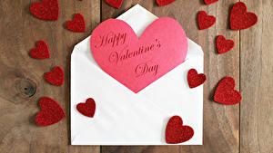 Papéis de parede Dia dos Namorados Tábuas de madeira Coração Ingleses