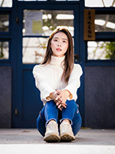 Bilder Asiaten Sitzen Jeans Sweatshirt Blick junge frau