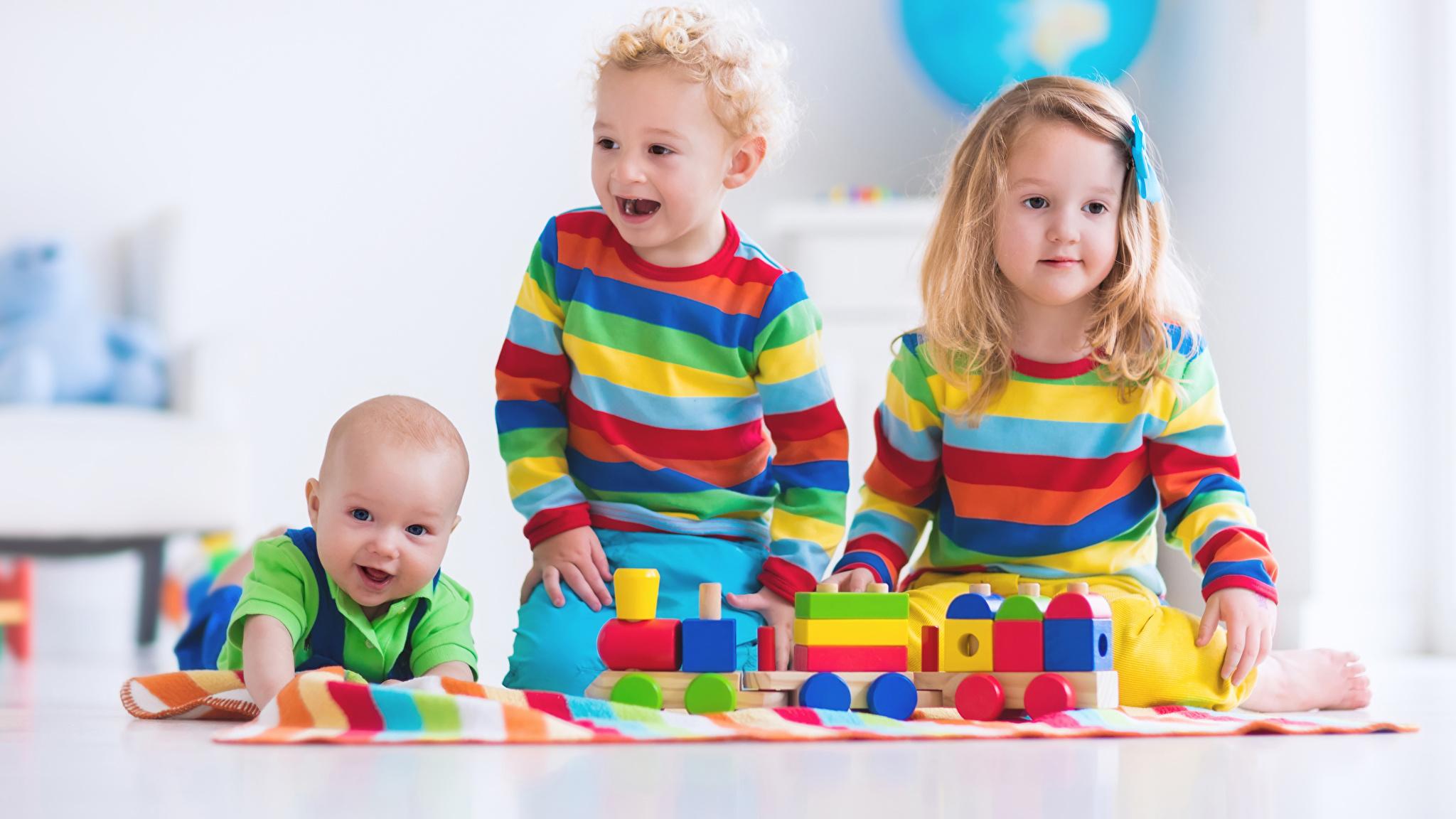 Wallpaper Little girls Baby Boys Joy Children Three 3 Toys 2048x1152