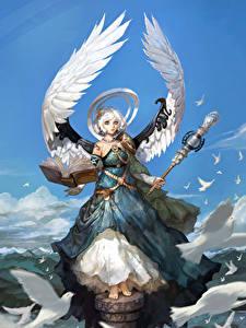 Hintergrundbilder Engeln Flügel Buch Kleid Magierstab Fantasy Mädchens