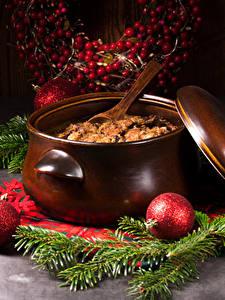 Hintergrundbilder Neujahr Die zweite Gerichten Ast Kugeln Lebensmittel