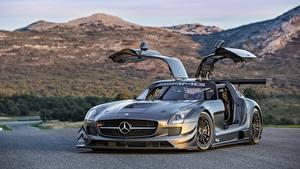 Fondos de escritorio Mercedes-Benz Gris Puerta abierta Coupe automóviles