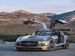 Papel de Parede Desktop Mercedes-Benz Cinza Porta aberta Coupe automóvel