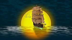Bilder Morgendämmerung und Sonnenuntergang Schiffe Segeln Sonne 3D-Grafik