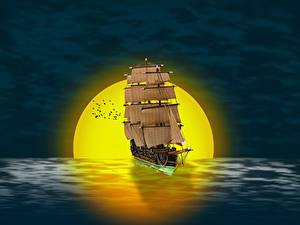 Pictures Sunrises and sunsets Ships Sailing Sun 3D Graphics