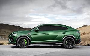 Bilder Lamborghini Grün Seitlich 2018 TopCar Urus Autos
