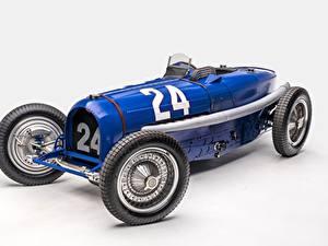 Fotos Antik BUGATTI Blau Grauer Hintergrund Classic Grand Prix 1933 Type 59 Grand Prix Autos